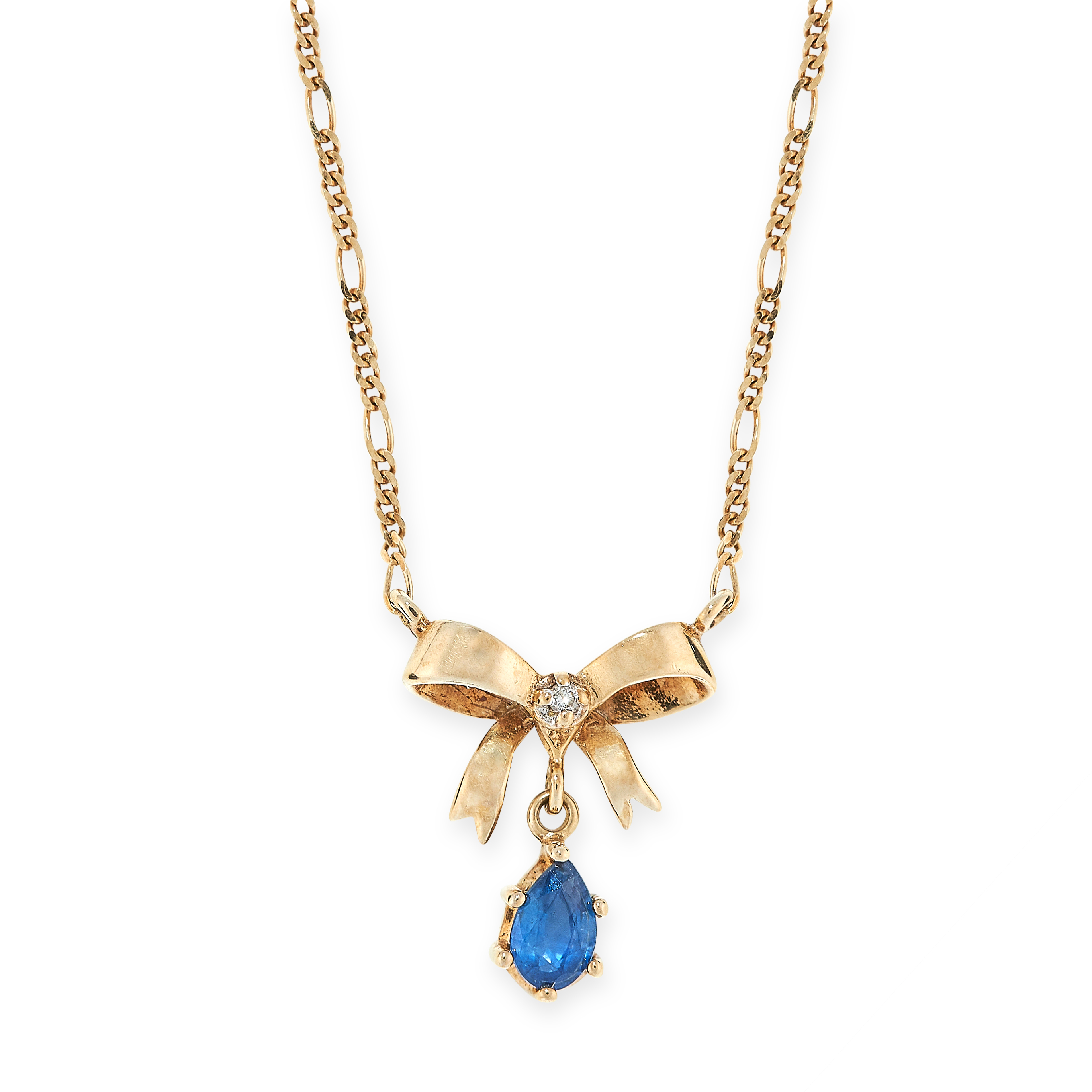 SAPPHIRE BOW PENDANT NECKLACE in the form of a bow set with a white gemstone and suspending a pear