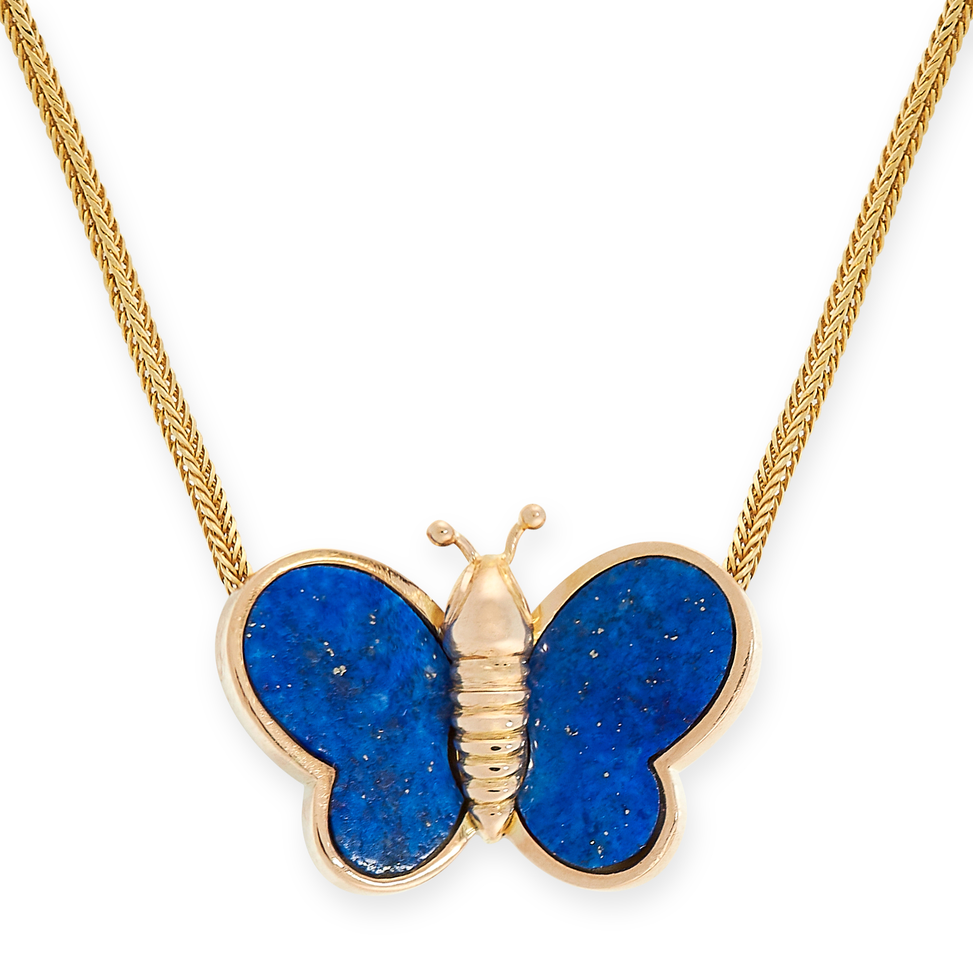 LAPIS LAZULI BUTTERFLY PENDANT NECKLACE in the form of a butterfly with lapis lazuli set wings,
