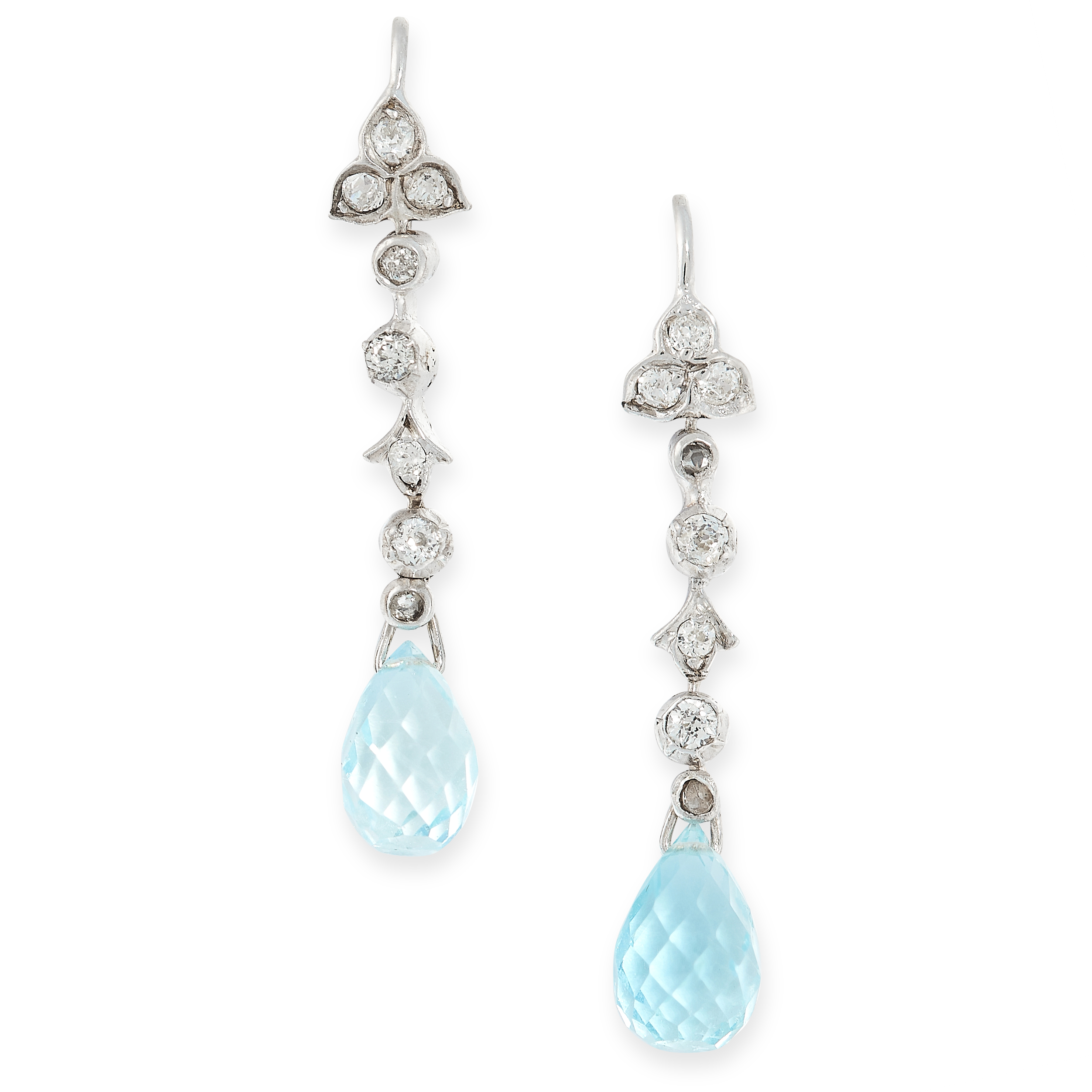 PAIR OF AQUAMARINE AND DIAMOND EARRINGS comprising of a row of old cut diamonds in foliate motifs,