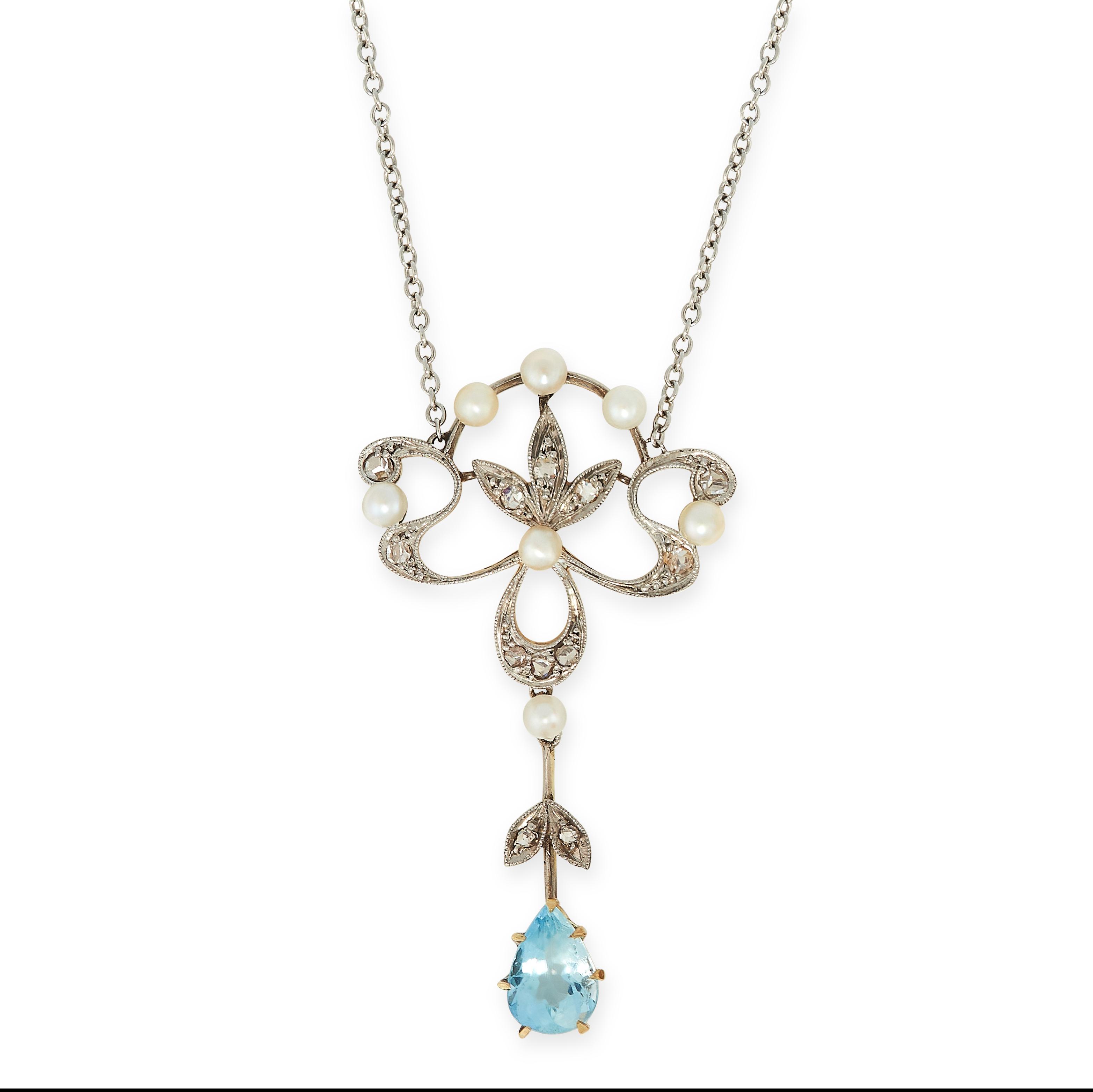 ANTIQUE EDWARDIAN AQUAMARINE, DIAMOND AND PEARL PENDANT NECKLACE in scrolling foliate design, set