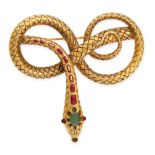 A MIXED LOT OF TWO BROOCHES including an antique hairwork and enamel brooch and a gemset snake