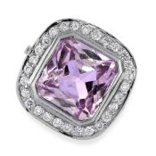 KUNZITE AND DIAMOND RING in 18ct white gold, collet-set with a mixed octagonal cut kunzite of 6.70