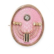 ANTIQUE RUSSIAN ENAMEL AND DIAMOND BROOCH, HAHN 1899-1908 in 14ct yellow gold, of oval form,