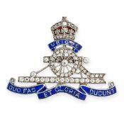 ANTIQUE REGIMENTAL JEWELLED ENAMEL ROYAL ARTILLERY BROOCH, CIRCA 1900 in the form of a crown, gun,