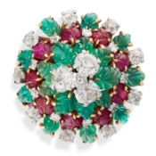 AN EMERALD, RUBY AND DIAMOND TUTTI FRUTTI COCKTAIL RING, CIRCA 1945 in 18ct yellow gold and