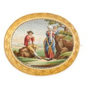 AN EXCEPTIONAL ANTIQUE MICROMOSAIC BROOCH, ITALIAN CIRCA 1860 in yellow gold, the oval shaped plaque