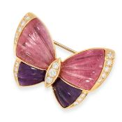 AN AMETHYST AND PINK TOURMALINE BUTTERFLY BROOCH, VAN CLEEF AND ARPELS in 18ct yellow gold, in the