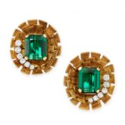 A PAIR OF VINTAGE GREEN TOURMALINE AND DIAMOND CLIP EARRINGS, ANDREW GRIMA 1970s in 18ct yellow
