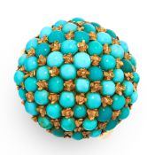 A TURQUOISE CLUSTER DRESS RING in yellow gold, the circular face of bombe design, set with a cluster