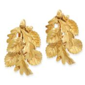 A PAIR OF VINTAGE EARRINGS, HERMES in 18ct yellow gold, each designed as a spray of oak leaves,