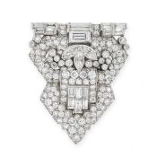 AN ART DECO DIAMOND CLIP BROOCH, CIRCA 1930 in platinum and 18ct white gold, of shield shaped