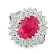 A BURMA NO HEAT RUBY AND DIAMOND RING in 18ct white gold, set with a central cushion cut ruby of 3.
