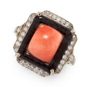 AN ART DECO CORAL, ONYX AND DIAMOND RING in 18ct white gold, set with a central cushion shaped coral