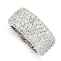 A DIAMOND ETERNITY BAND RING in 18ct white gold, the band formed of seven rows of round cut