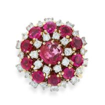 A BURMA NO HEAT RUBY AND DIAMOND RING in yellow gold, the circular face set with a central ruby of