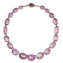 AN ANTIQUE AMETHYST RIVIERE NECKLACE, 19TH CENTURY in yellow gold, formed of twenty graduated oval