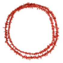 VINTAGE CORAL SAUTOIR NECKLACE comprising a single row of coral twigs, unmarked, 108.0cm, 58.6g.