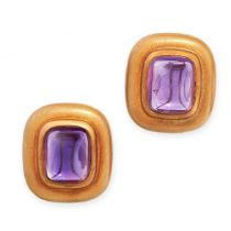 A PAIR OF VINTAGE AMETHYST CLIP EARRINGS, TIFFANY & CO in 18ct yellow gold, each set with a