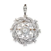 A DIAMOND BROOCH / PENDANT, EARLY 20TH CENTURY set with a central cluster of old cut diamonds within