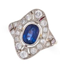 A SAPPHIRE AND DIAMOND RING in 18ct yellow gold and platinum, the navette shaped face set with an