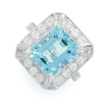 AN AQUAMARINE AND DIAMOND RING set with an emerald cut aquamarine of 5.54 carats in an octagonal