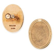 A PAIR OF VINTAGE CUFFLINKS, TIFFANY & CO in 14ct yellow gold, each formed of an oval face with