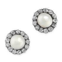 A PAIR OF ANTIQUE NATURAL PEARL AND DIAMOND STUD EARRINGS in yellow gold and silver, in cluster