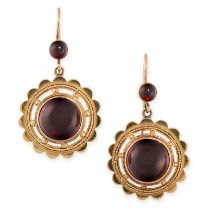 A PAIR OF ANTIQUE GARNET EARRINGS, 19TH CENTURY in yellow gold, in Etruscan revival manner, each set