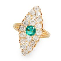 AN ANTIQUE EMERALD AND DIAMOND RING in 18ct yellow gold, the navette face set with a central cushion