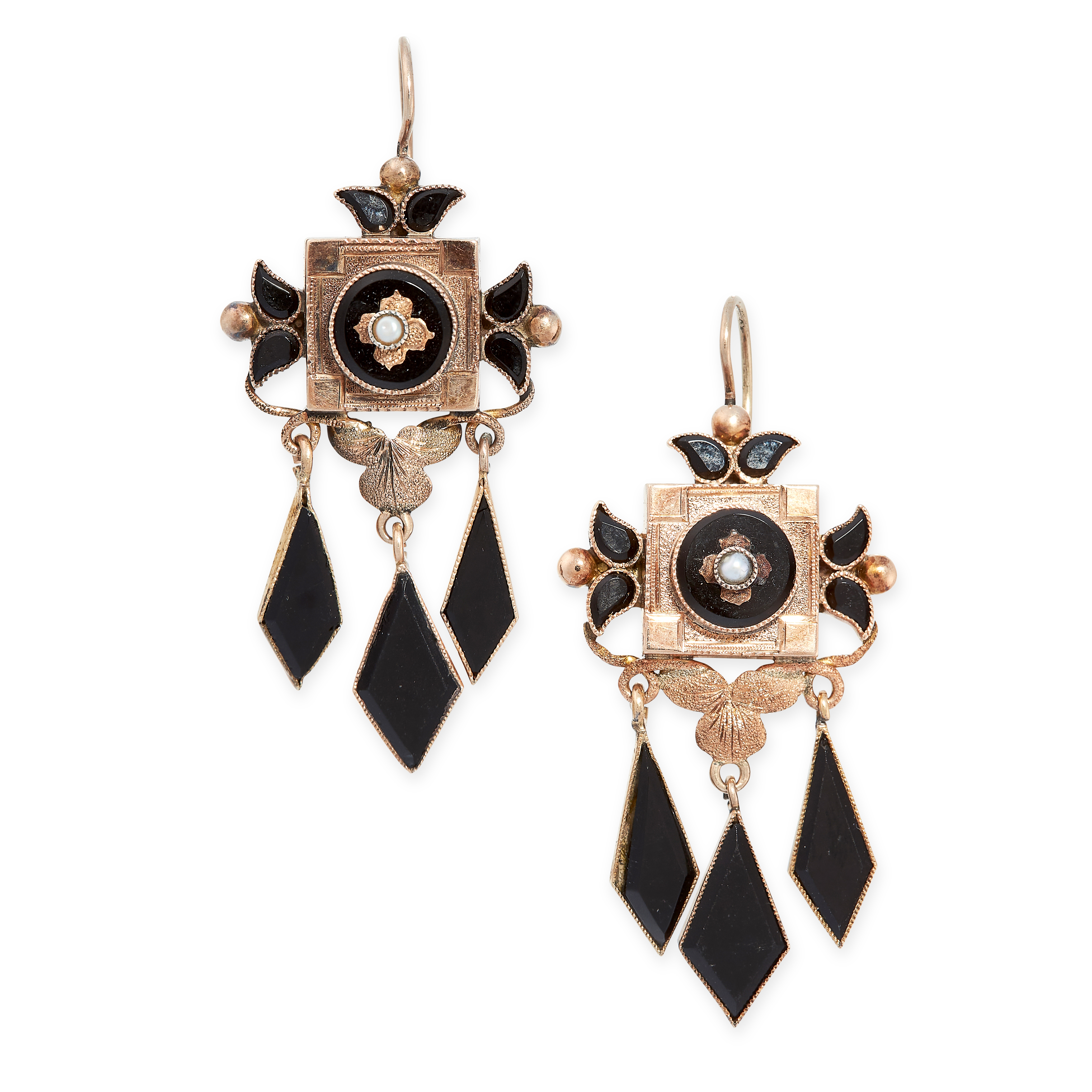 A PAIR OF ANTIQUE ONYX AND PEARL EARRINGS, 19TH CENTURY in yellow gold, the square faces set with
