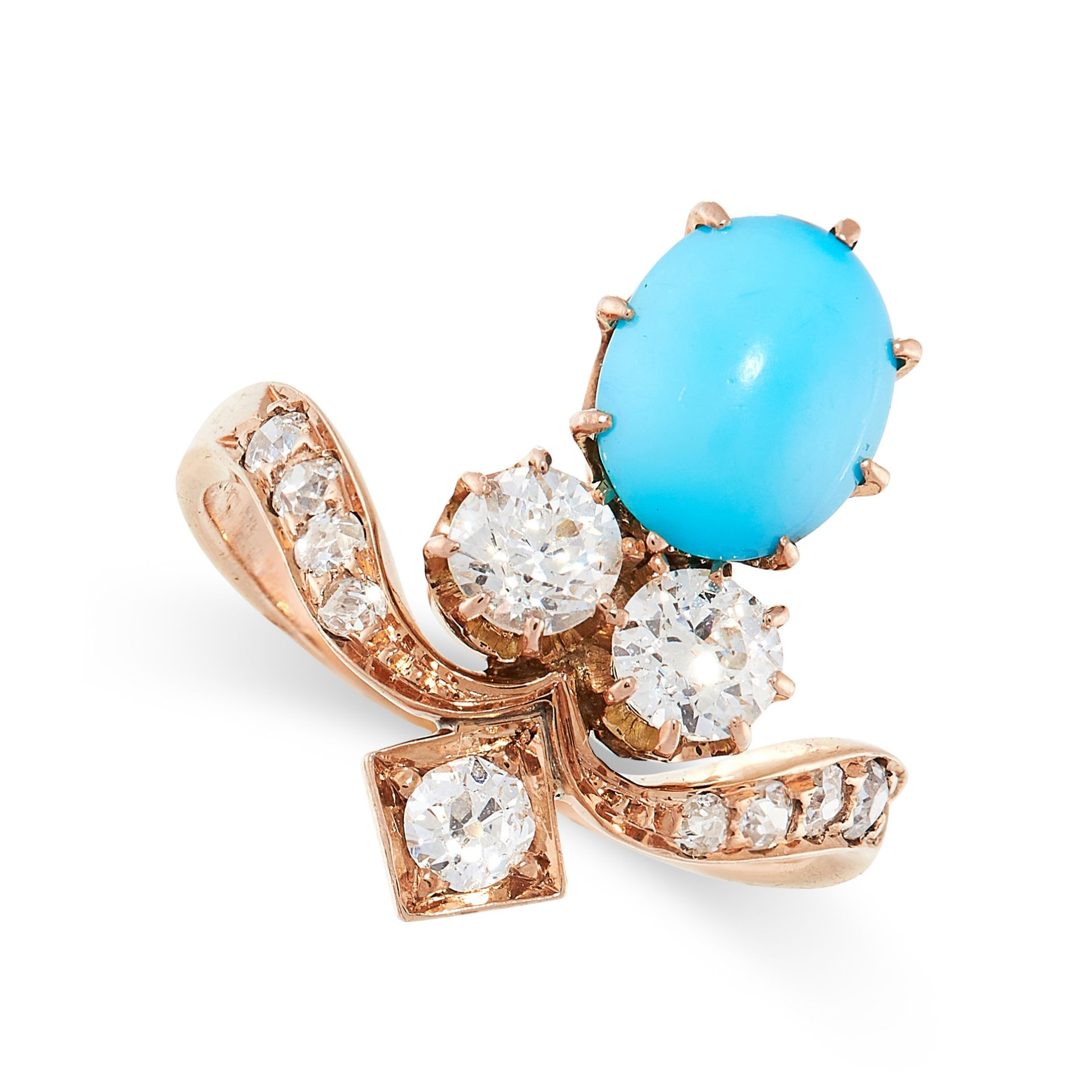 AN ANTIQUE TURQUOISE AND DIAMOND TIARA RING in yellow gold, the stylised band set with old cut
