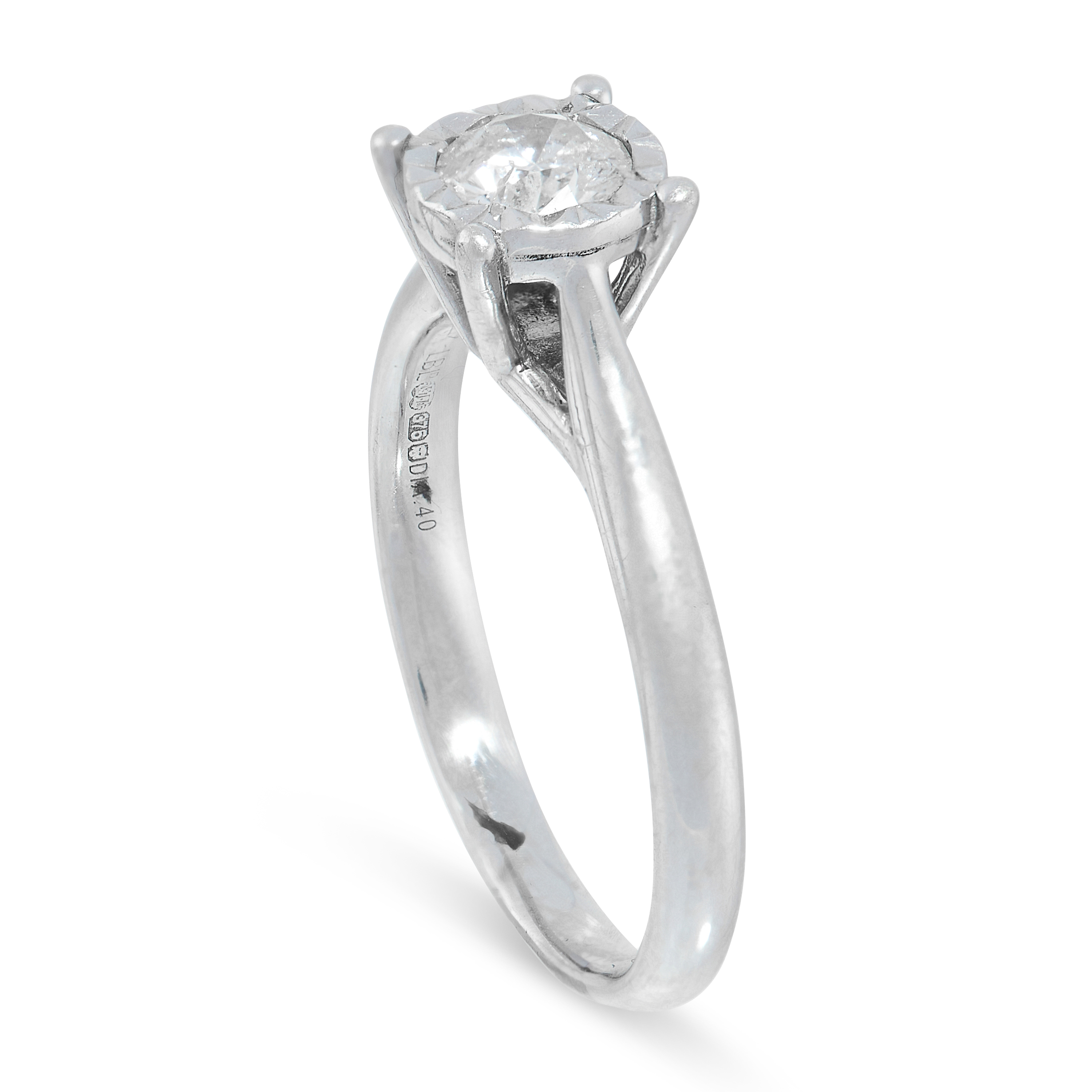 A DIAMOND SOLITAIRE in 9ct white gold, set with a round cut diamond of 0.40 carats, British - Image 2 of 2