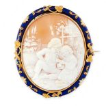 AN ANTIQUE CARVED CAMEO AND ENAMEL BROOCH, 19TH CENTURY in yellow gold, set with an oval shell cameo