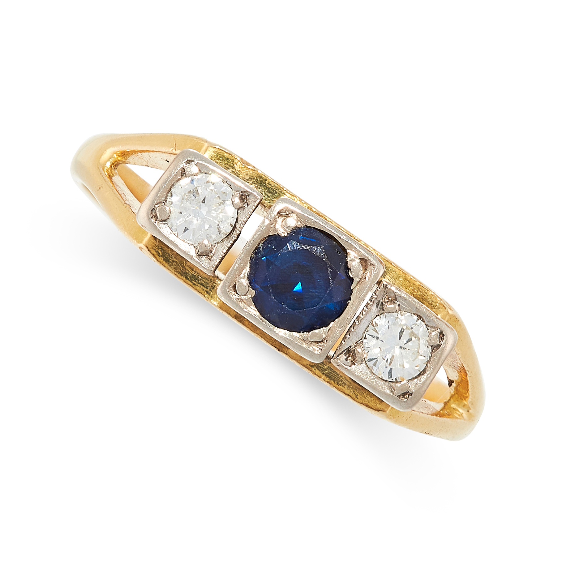 A DIAMOND AND SAPPHIRE RING in 18ct yellow gold, set with a round cut sapphire between two round cut