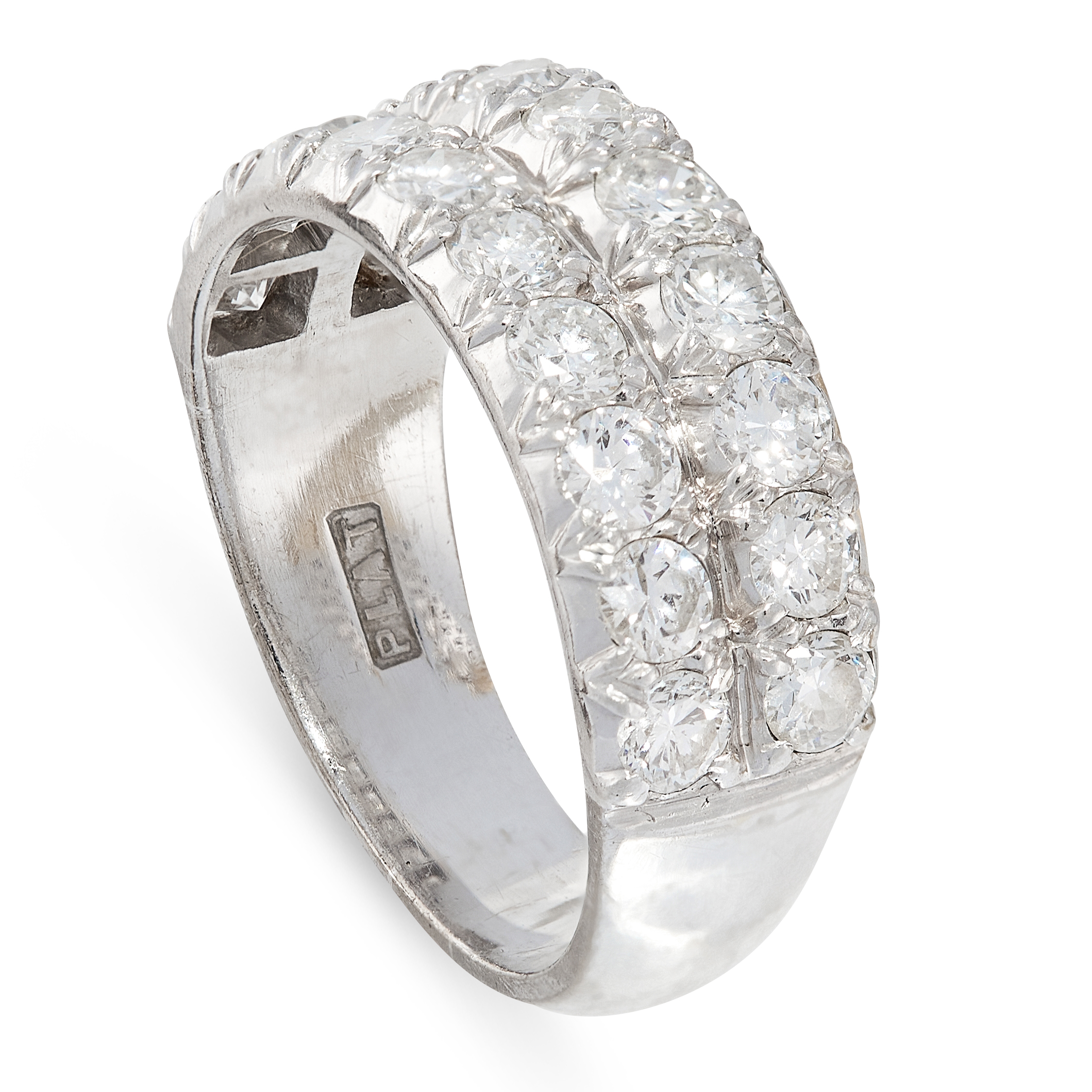 A DIAMOND DRESS RING in 18ct white gold and platinum, the band half set with two rows of round cut - Image 2 of 2