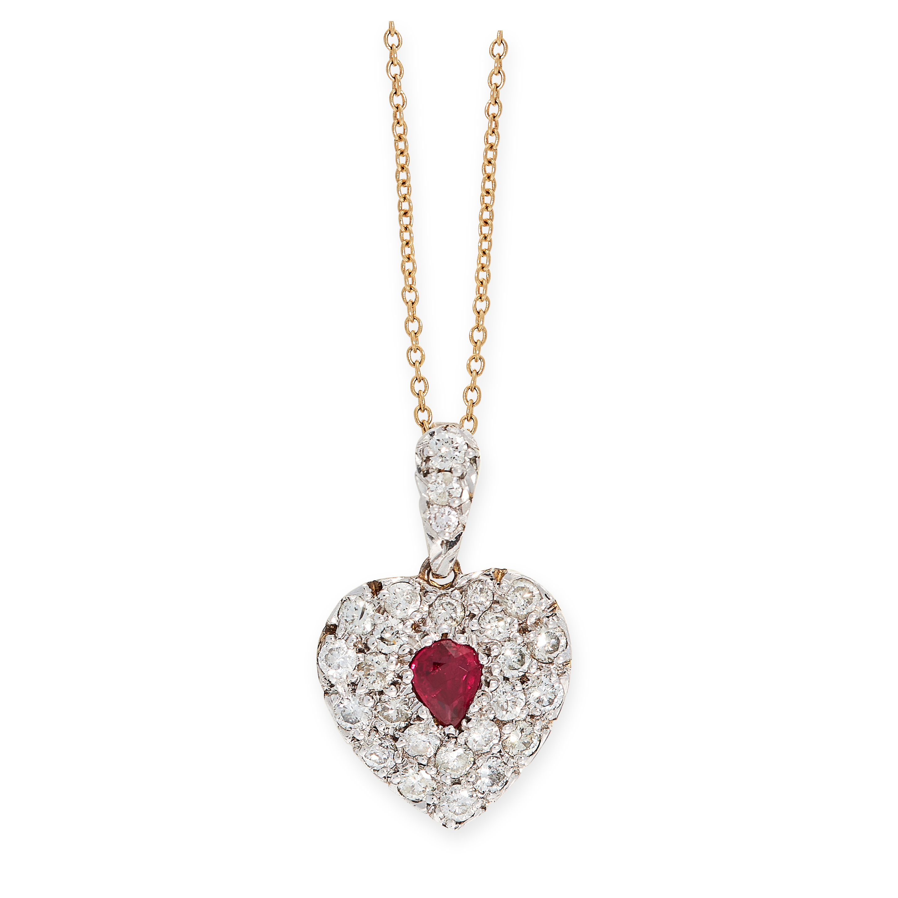 A RUBY AND DIAMOND HEART PENDANT in 15ct yellow gold, set with a pear cut ruby within a heart shaped