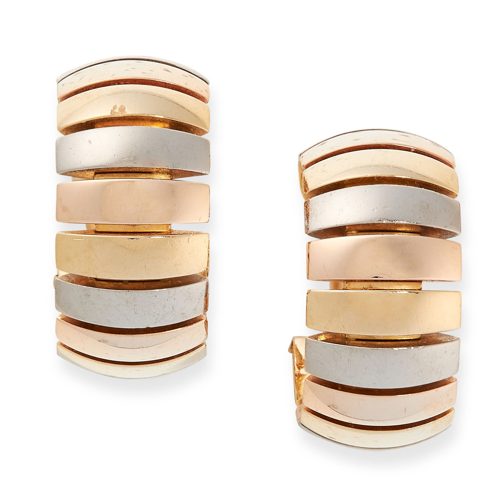 A PAIR OF TRINITY DE CARTIER HOOP EARRINGS, CARTIER in 18ct yellow, white and rose gold, each