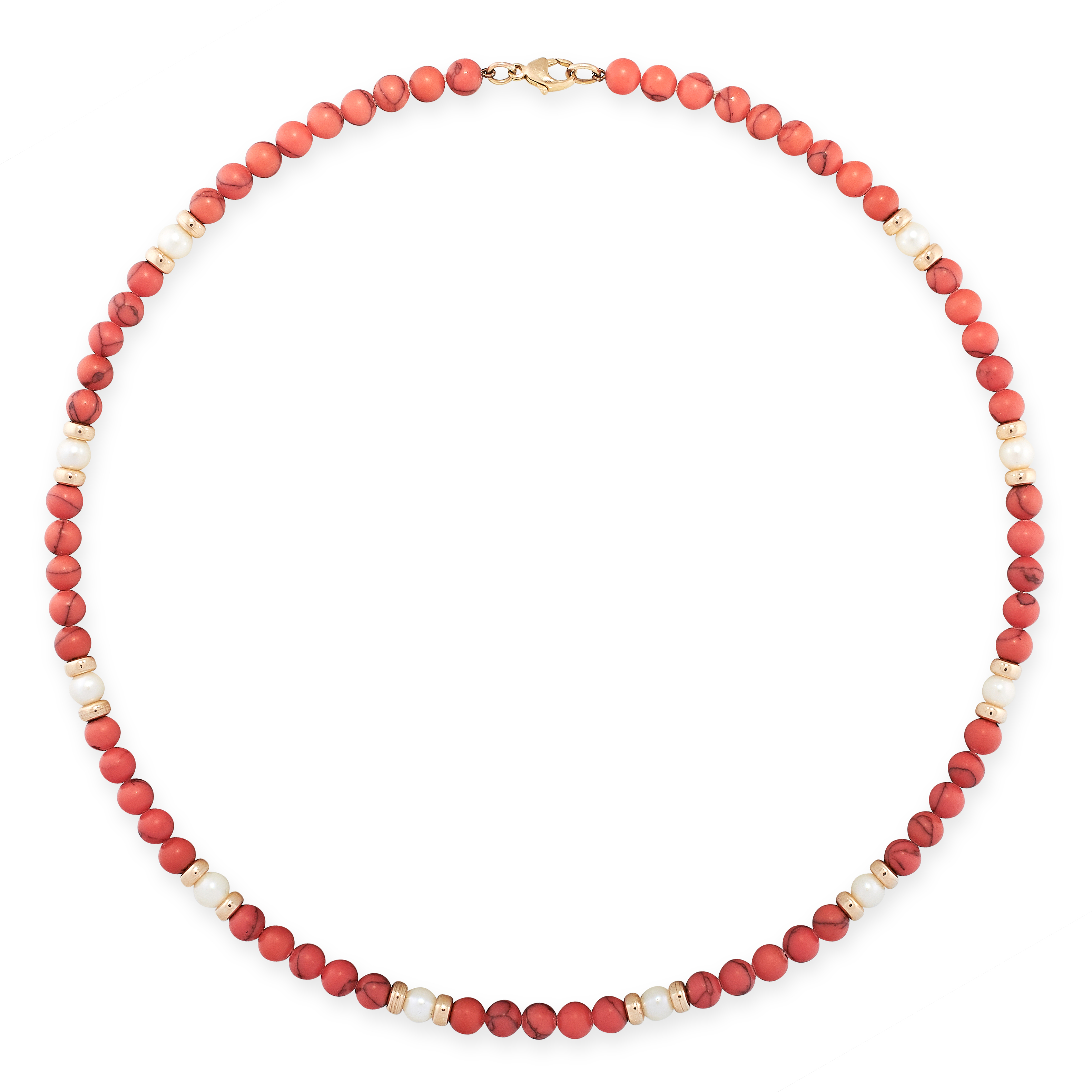 A PEARL AND DYED HOWLITE BEAD NECKLACE comprising of a single row of dyed howlite beads, accented by