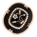 AN ANTIQUE PEARL, DIAMOND AND ENAMEL MOURNING LOCKET BROOCH, 19TH CENTURY in yellow gold, the body