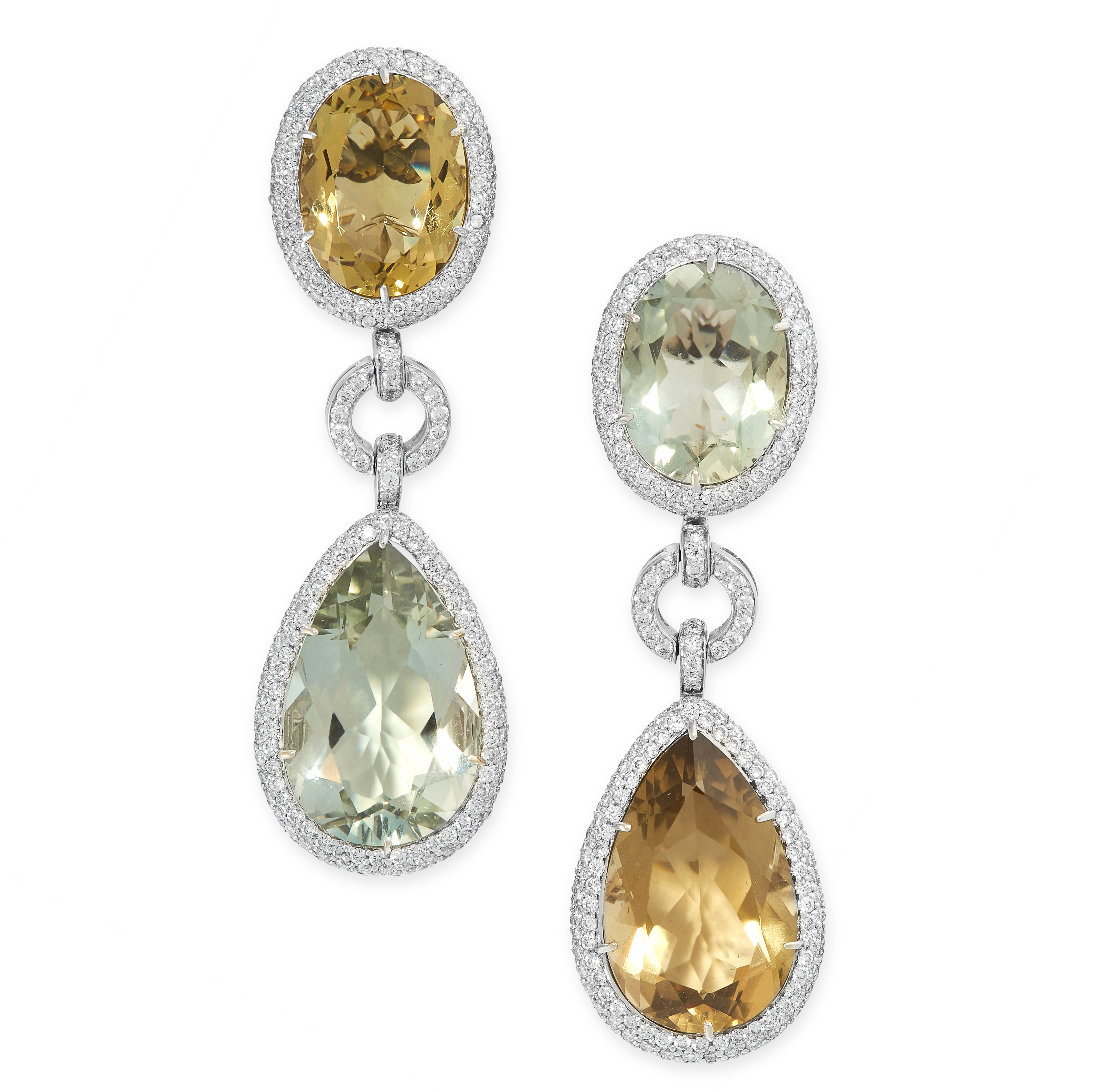 A PAIR OF DIAMOND, PRASIOLITE AND CITRINE EARRINGS of asymmetrical design, set alternately with pear
