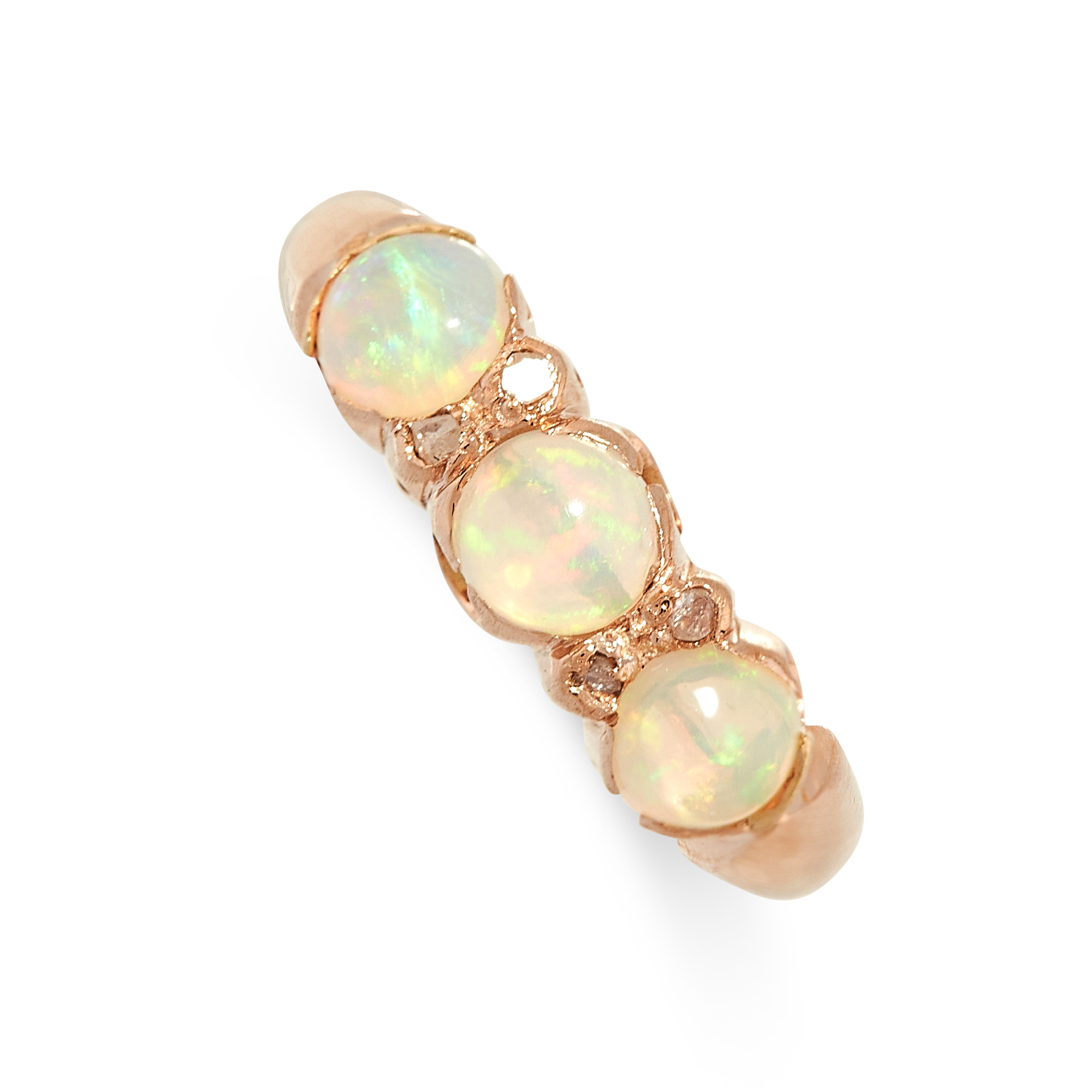 AN OPAL AND DIAMOND DRESS RING, CIRCA 1930 in yellow gold, set with a trio of graduated circular