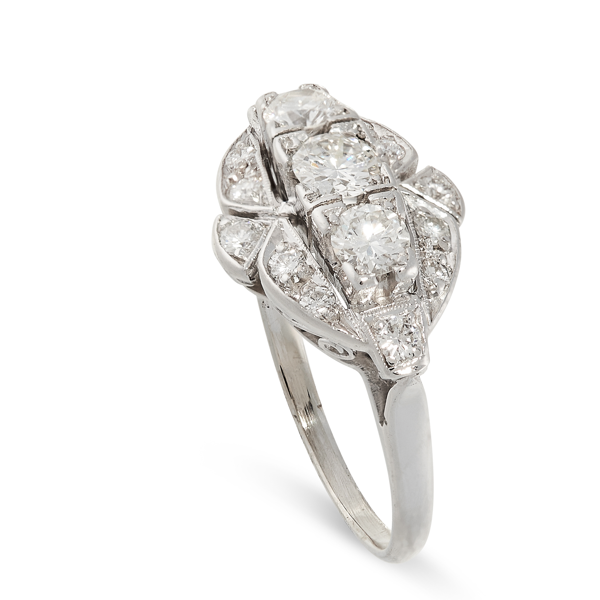 A DIAMOND DRESS RING the navette shaped face set with a trio of principal round cut diamonds - Image 2 of 2