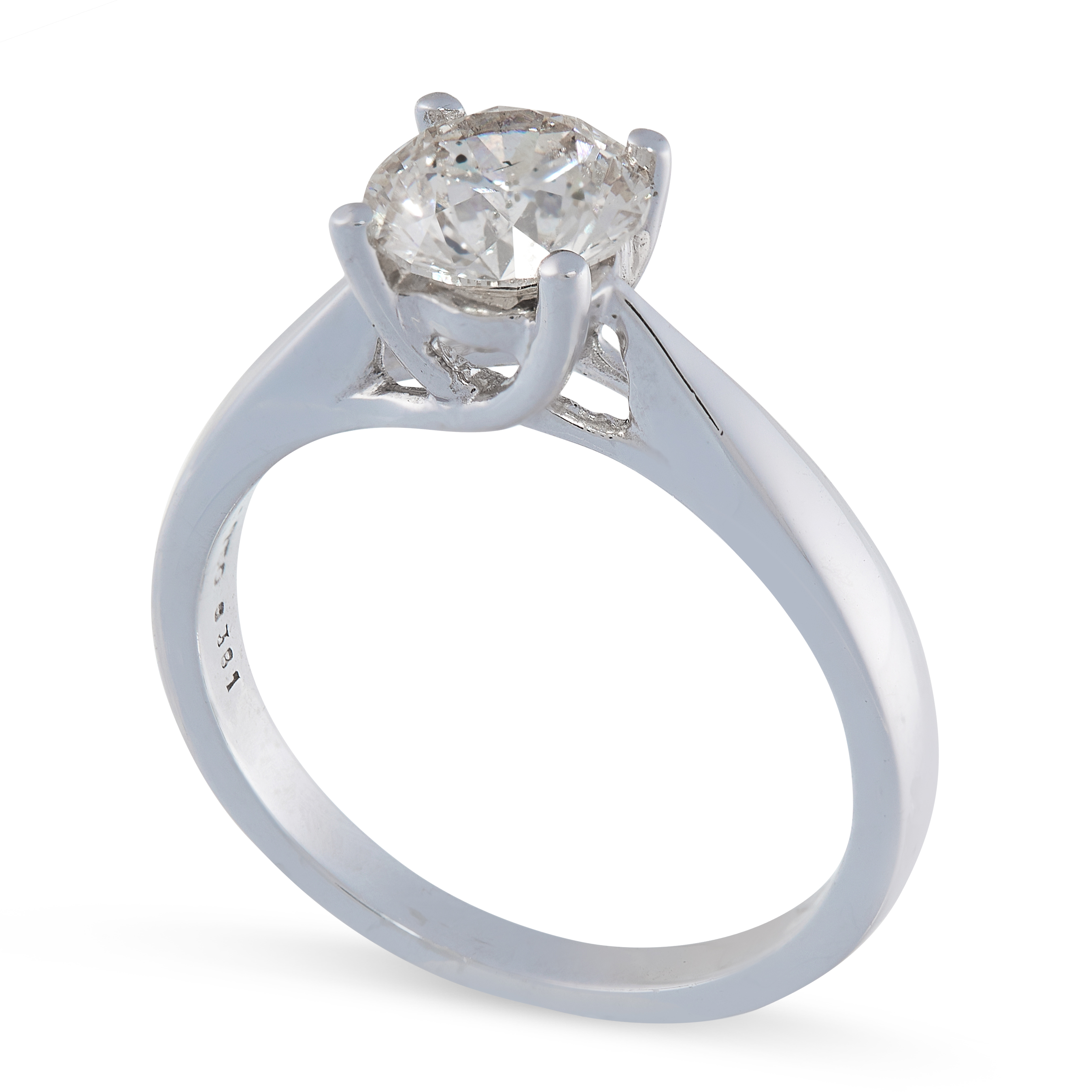 A SOLITAIRE DIAMOND ENGAGEMENT RING in 18ct white gold, set with a round cut diamond of 1.35 carats, - Image 2 of 2