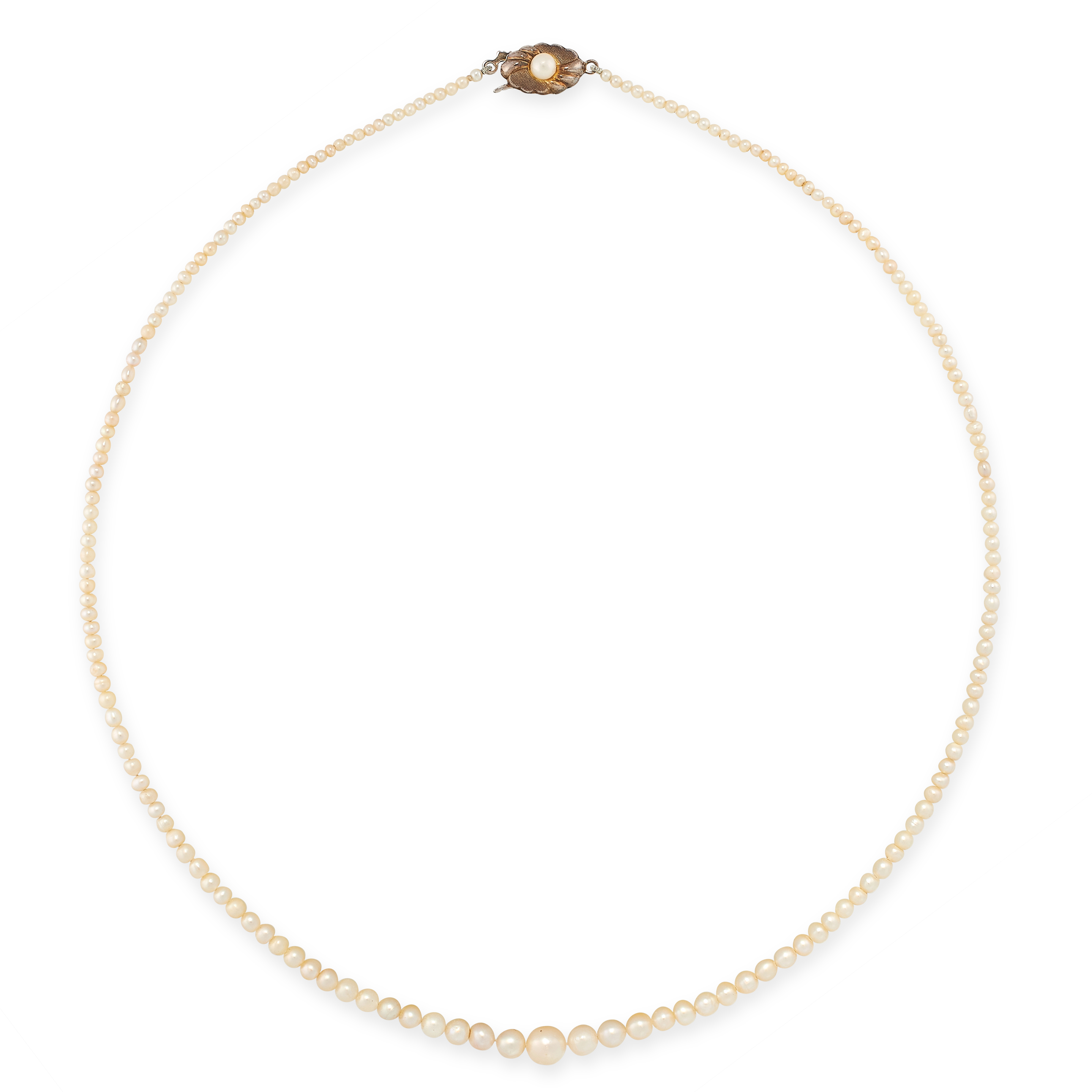THREE NATURAL PEARL NECKLACES each comprising of a single row of natural pearls ranging from 1.4mm-