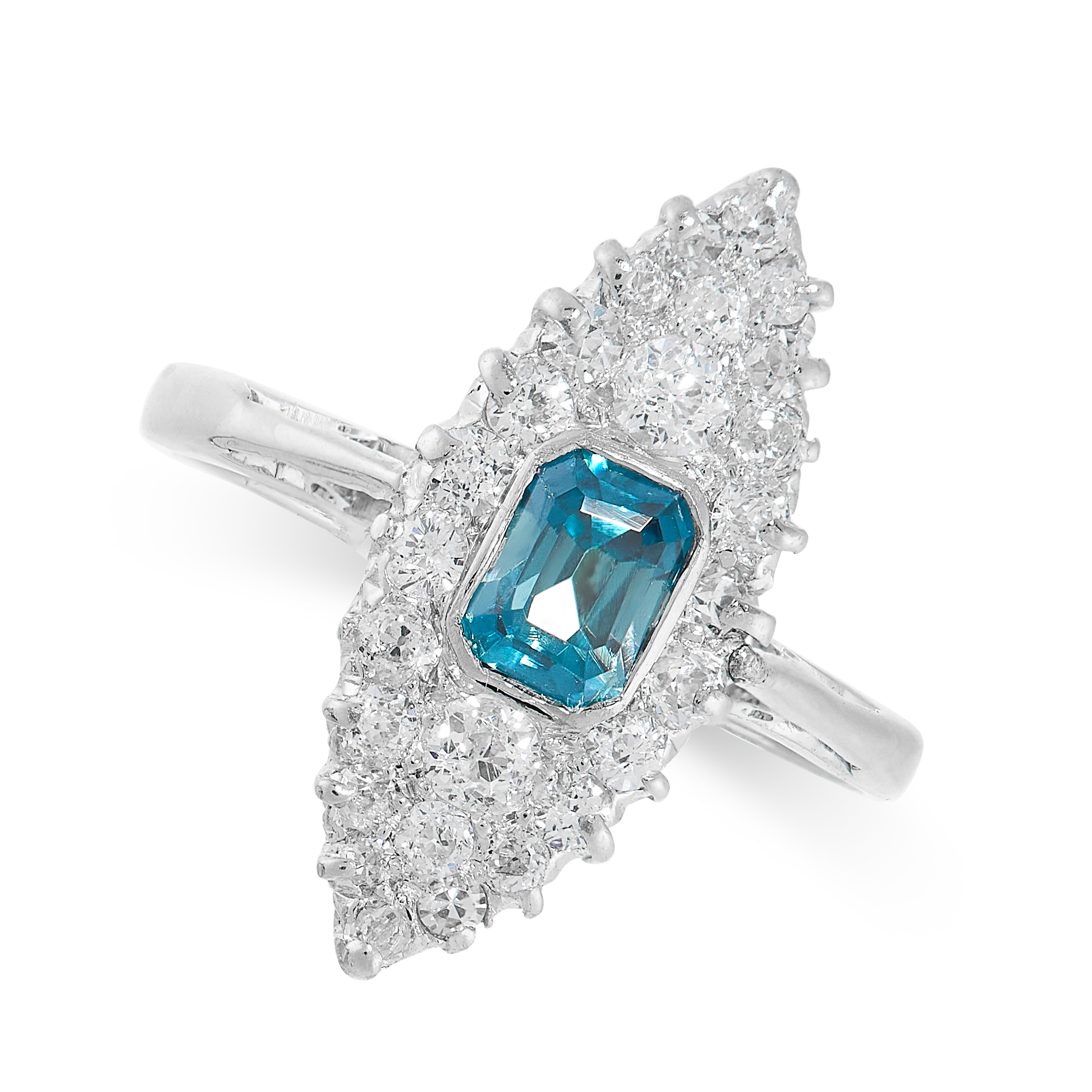 A BLUE ZIRCON AND DIAMOND RING the navette shaped face set with an emerald cut blue zircon, accented