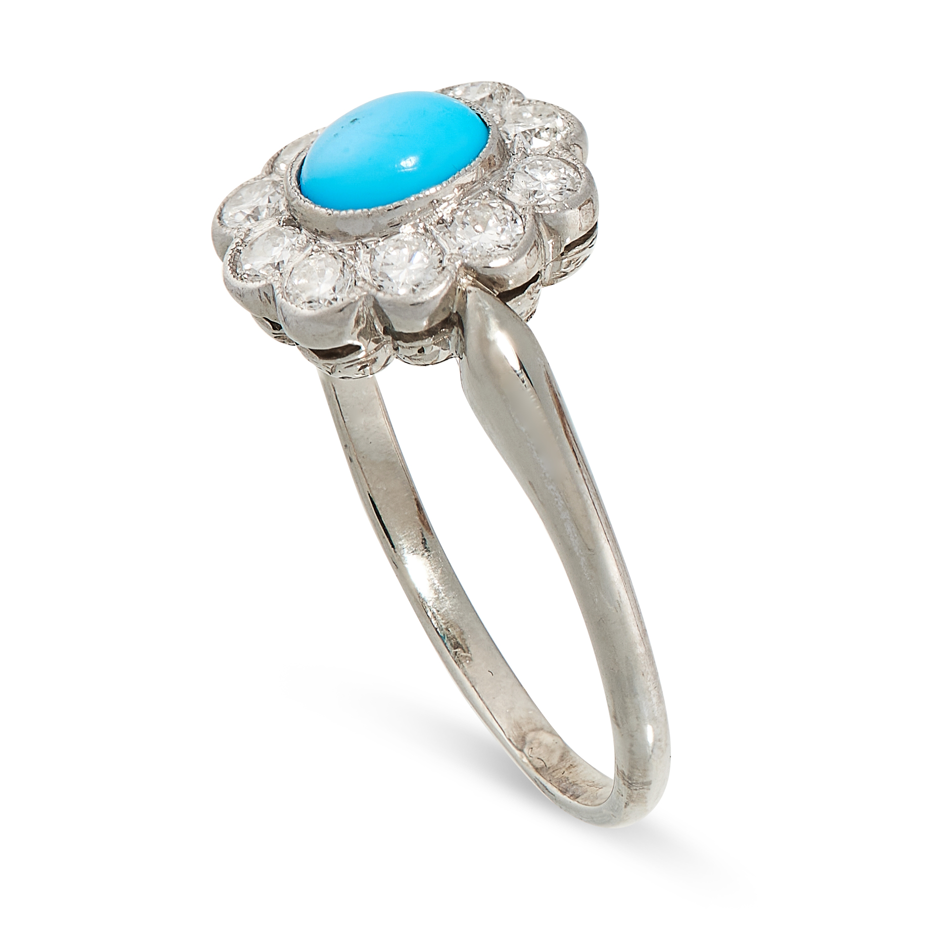 A VINTAGE TURQUOISE AND DIAMOND DRESS RING in 14ct white gold, set with an oval cabochon turquoise - Image 2 of 2