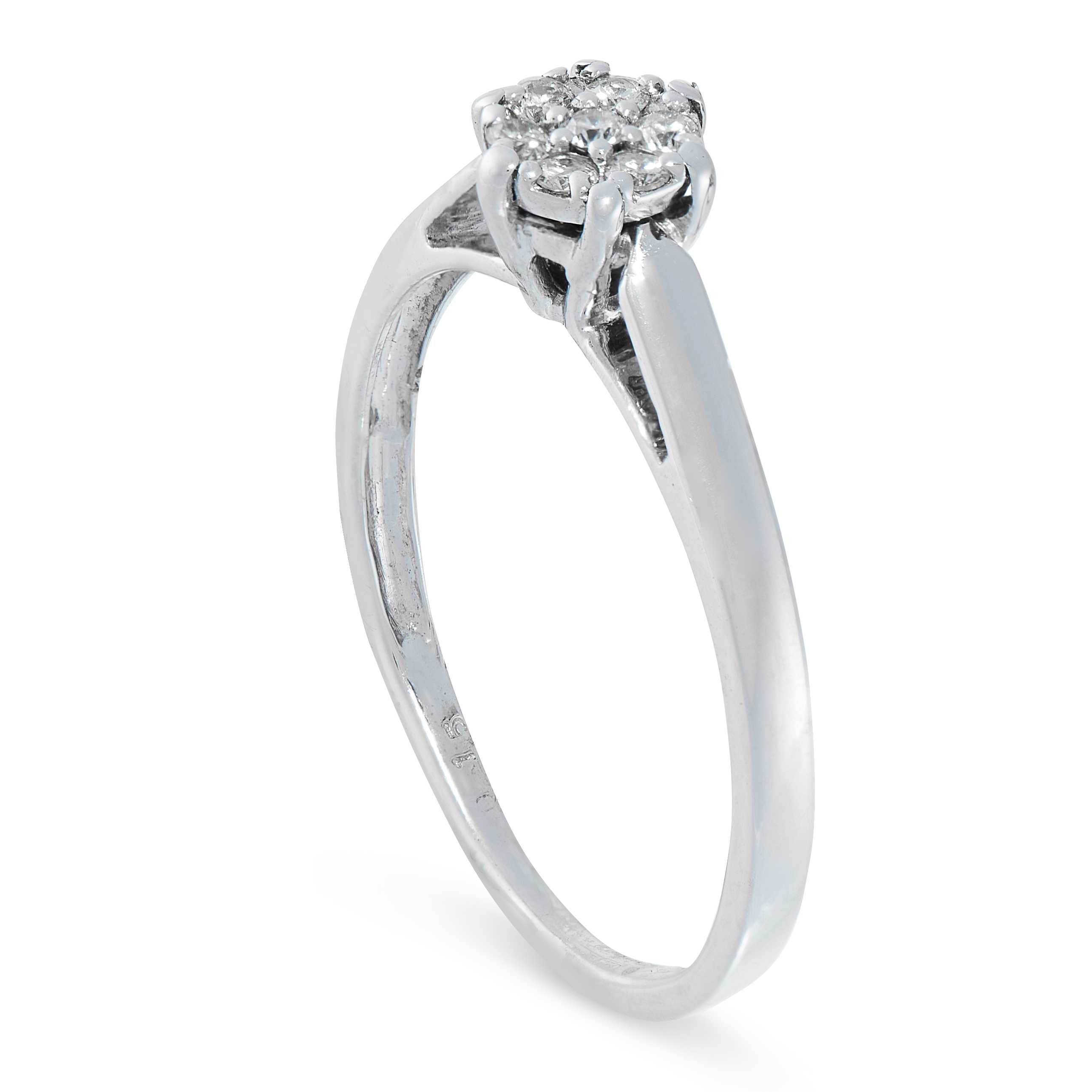A DIAMOND RING in 18ct white gold, in cluster design, set with seven round cut diamonds, stamped - Image 2 of 2