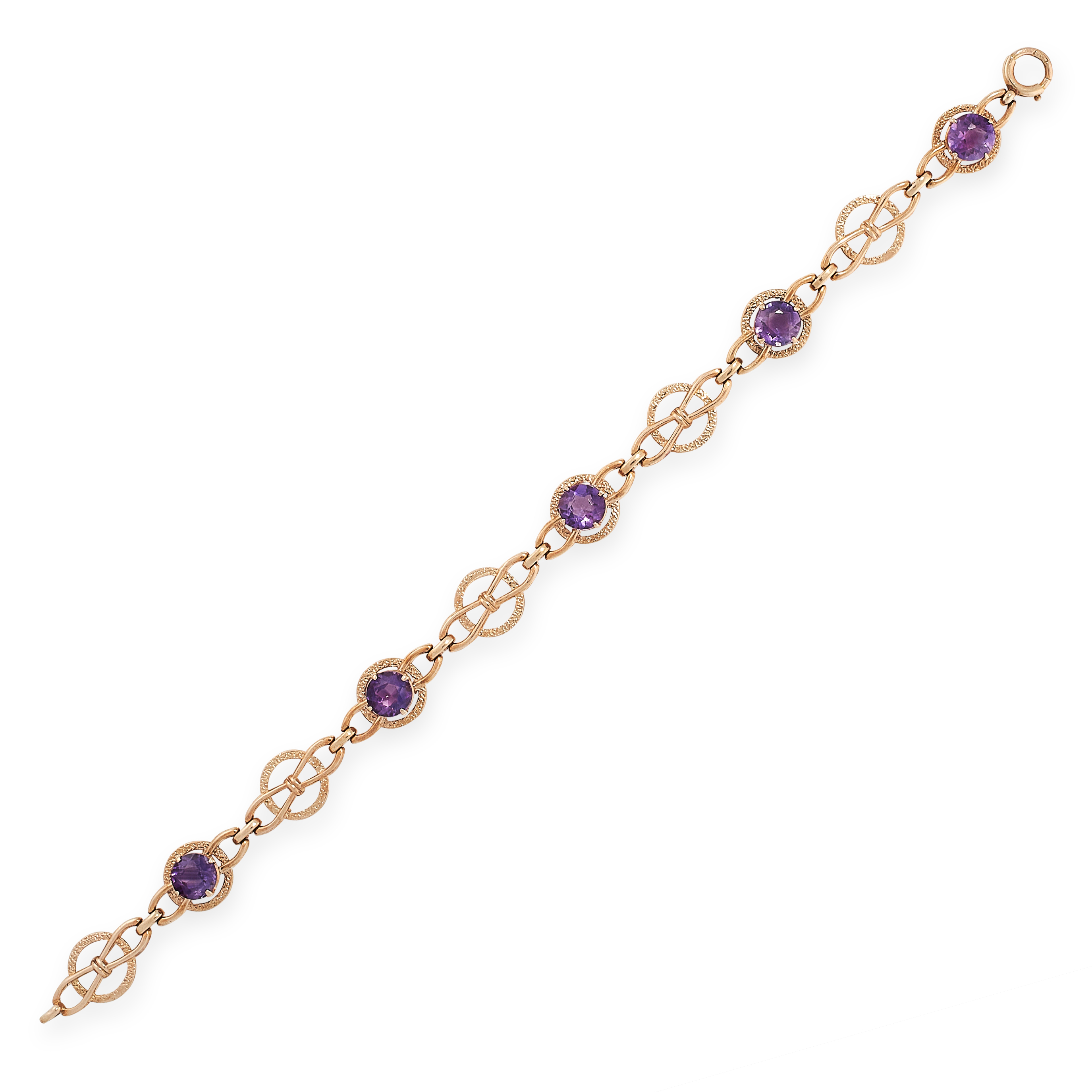 A VINTAGE AMETHYST BRACELET in yellow gold, set with five round cut amethyst, punctuated by Celtic