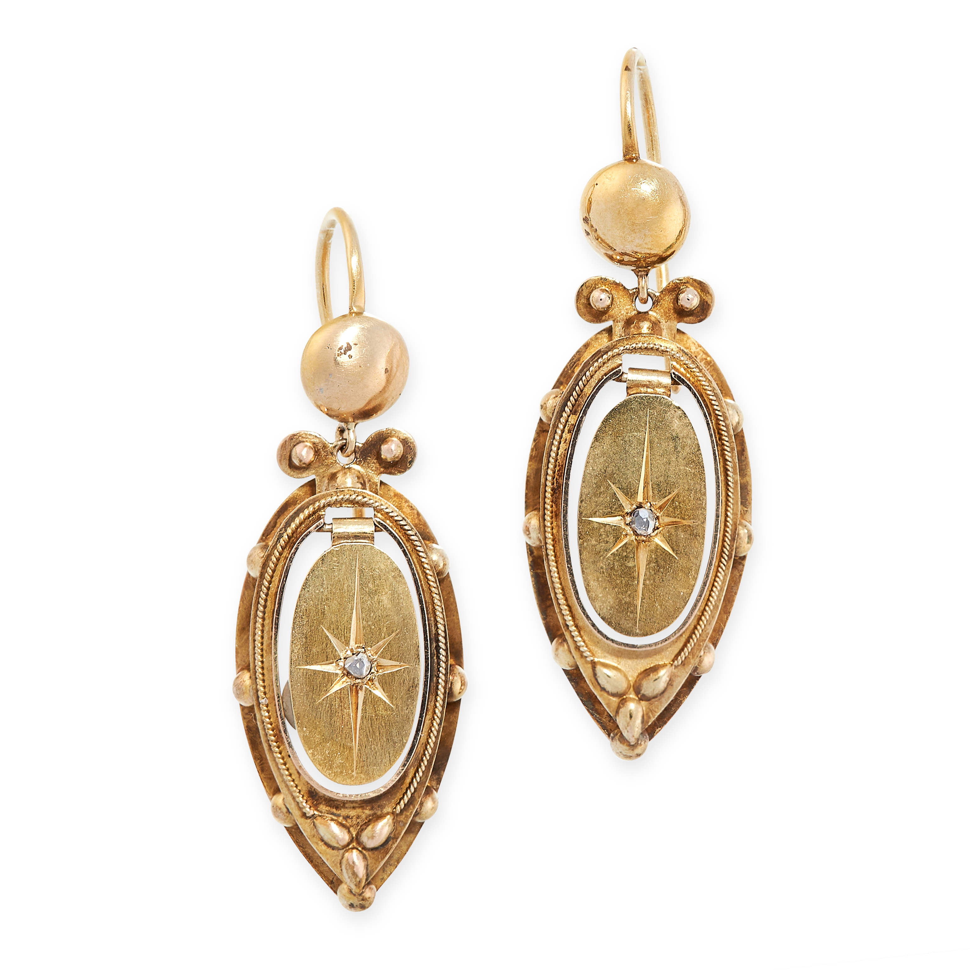 A PAIR OF ANTIQUE DIAMOND EARRINGS, 19TH CENTURY in yellow gold, in the Etruscan revival manner, the