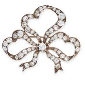 AN ANTIQUE DIAMOND BROOCH, 19TH CENTURY in yellow gold and silver, designed as a ribbon tied in a
